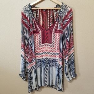 Lucky Brand Multicolored Sheer Geometeric Top Sz1X